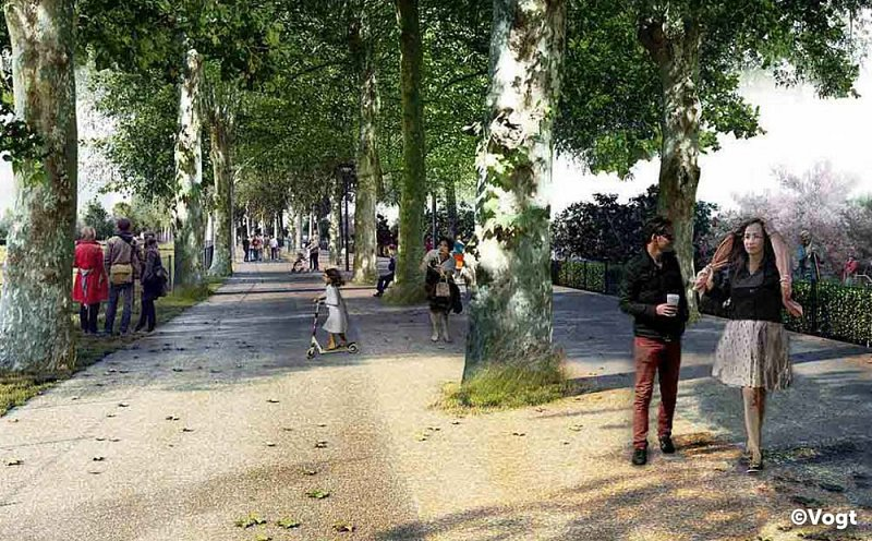 Render showing how the new park will look - people strolling down a path