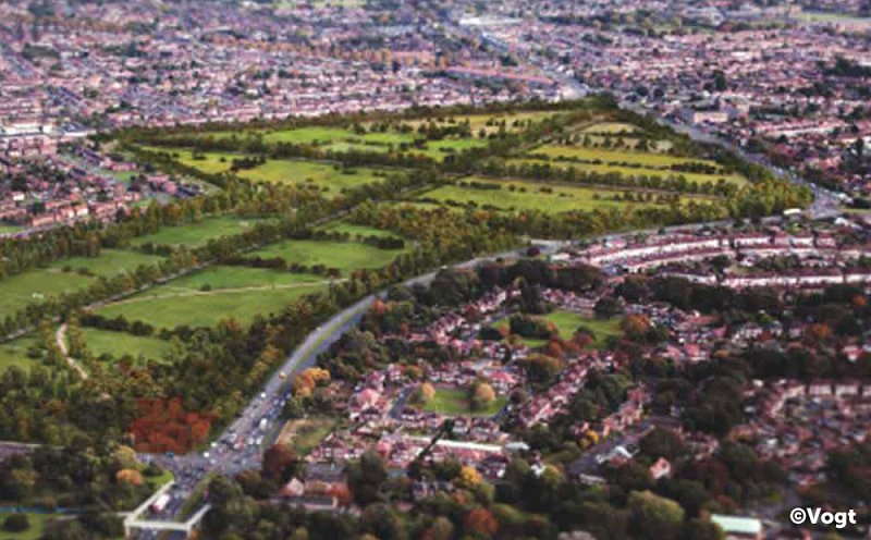 Aerial view showing CGI of Rectory Farm