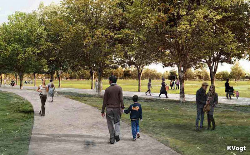 Render image showing people walking on a path in the new park.